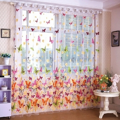 Romantic Butterfly Curtains Yarn Tulle Curtain Breathable Anti-Mosquito Window Curtain Glass screen multicolor printing 1M*2M high Rod