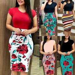2018 New European Women Floral Print Bodycon Dresses Short Sleeve Slim Dresses Sexy Bodycon Dresses red S