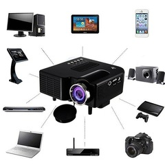UC28 + mini portable 1080P HD projector home theater upgrade HDMI interface black 58*87*37mm