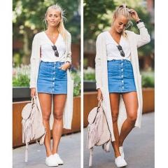 2017 Summer Fashion Women Skirts Denim High Waist Bodycon Bandage Stretch Pencil Short Mini Skirt blue s