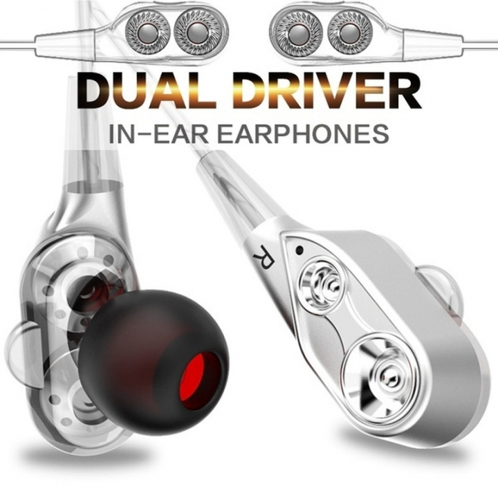 HUINIU In-ear Head phone 3.5mm Stereo Headset Microphone Sport Earphone MP3 PC Gaming Auriculares silver
