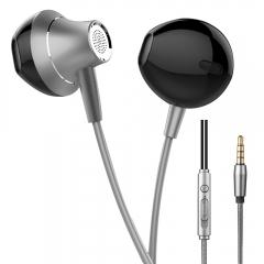 HUINIU -1Earphone Stereo Metal Eancelling Headsets DJ Irphone Noise Can Ear Earphones HiFi Ear Phone Gray
