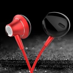 HUINIU -1Earphone Stereo Metal Eancelling Headsets DJ Irphone Noise Can Ear Earphones HiFi Ear Phone red
