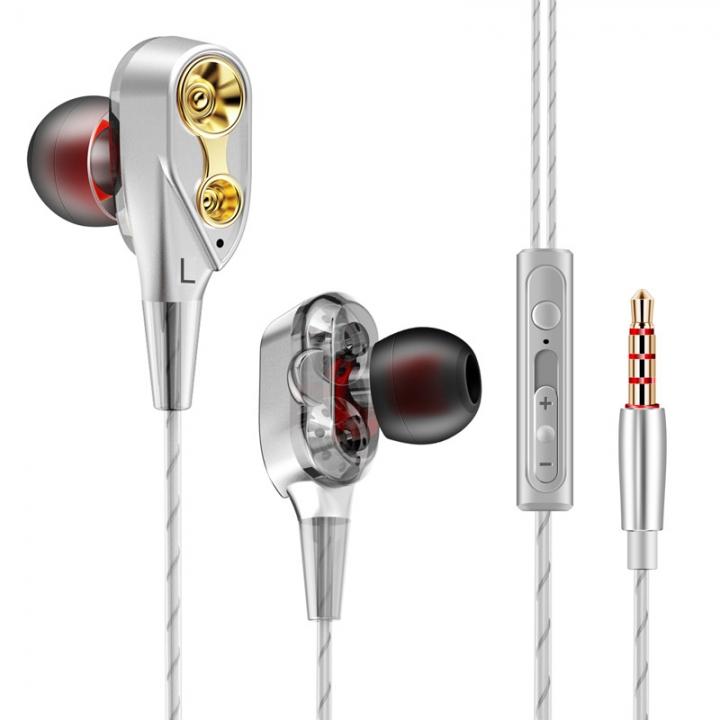 HUINIU-1 metal bass earbuds Microphone Stereo Bass earphones  Huawei Xiaomi piston Sport earphones silver
