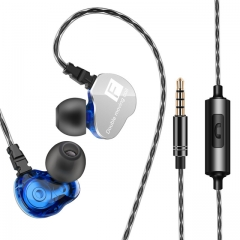 Earphone in-ear heavy bass cable earplug with microphone cable control K song double motion coil blue