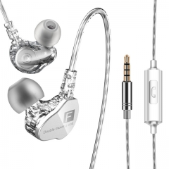 Earphone in-ear heavy bass cable earplug with microphone cable control K song double motion coil lucency
