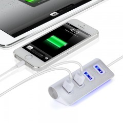 USB2.0 HUB 4-port hub Ultra-high-speed 2.0 HUB aluminum alloy USB2.0 charger for mobile phones Silver
