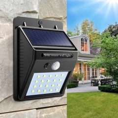 Solar Power PIR Motion Sensor +CDS Night Sensor Wall Light Outdoor Garden Lamp