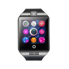 Q18 Smart Watch with Touch Screen Bluetooth Support TF Sim Card Camera Watches for Android Phone Black
