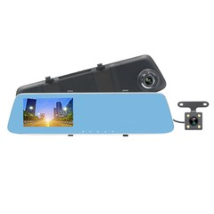 JL - 907T 4.3inch HD 1080p Starlight Night Vision Dual Cameras Car DVR & Rearview Mirror Car DVR