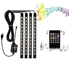 ZDM 4 pcs 9inch Car USB LED Strip Lights 72 LED RGB Music Car Interior Lights