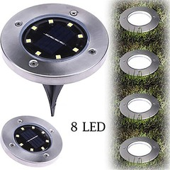 8 LED Solar Ground Lamp Waterproof Outdoor Garden Landscape Lawn Yard Underground Buried Light
