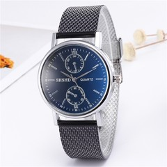 Fashion simple blue two-eye plastic soft belt watch men and women fashion unisex watch Black