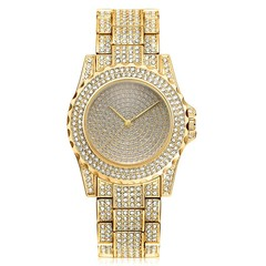 Women Fashion Wrist Watch Rhinestone Diamond Wristwatches Ladies Classic Luxury Quartz Watches Gold