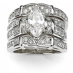 Fashion Women Jewelry White Gold Wedding Rings Gift Silver #6