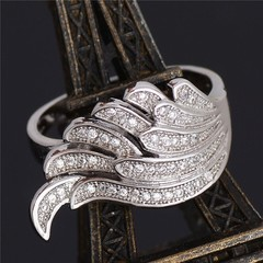 Dynamic Fashion Silver Plated Wing Shape Ring Full Diamond Zircon Ring Silver #6