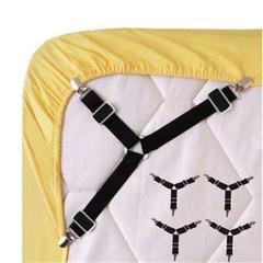 Hot sales 4pcs Triangle Bed Sheet Mattress Holder Fastener Grippers Clips Suspender Straps Black one size