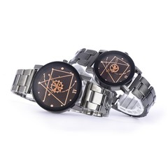 Fashion Gear Steel Belt Quartz Watch Men and Women Couple Watches 2pcs Set Black