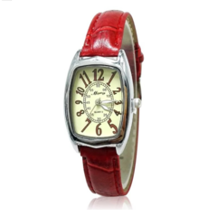 Fashion Wrist Watch Wristwatch For Elegant Women Square Dial Leather Watchband Watch Red