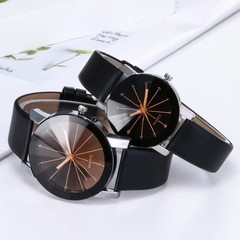 Fahsion Couple Wristwatch Belt watch Fashion meridian couple watch 2pcs Set Black