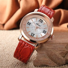 Fashion FLow Rhinestone Women's Wristwatch Student Belt Quartz Watch Red