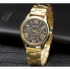 Geneva Roman Steel Belt Men's Watch Men's Watch Fashion Three-Eye Alloy Men's Watch Gold Black