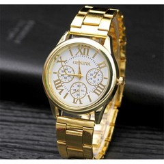 Geneva Roman Steel Belt Men's Watch Men's Watch Fashion Three-Eye Alloy Men's Watch Gold White