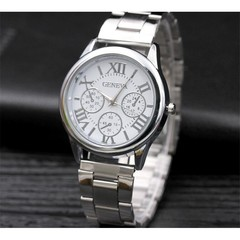 Geneva Roman Steel Belt Men's Watch Men's Watch Fashion Three-Eye Alloy Men's Watch Silver