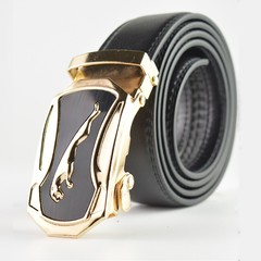 Fashion Men's Leather Belt Stereo Automatic Buckle Youth Casual Business Pants Belt Gold