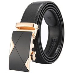 2019 Fashion Men Leather Belt Automatic Buckle Belt Cowhide Leather Belt Black-TT