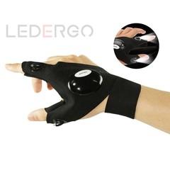 LED flashlight finger light night emergency light cotton outdoor sports gloves night light Black one size