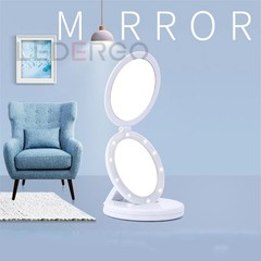 USB Double-sided Light Mirror with 5X Magnifying Mirror LED Folding Makeup Mirror Portable White