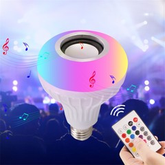 E27 Bulb Speaker Bluetooth LED Light Music RGB Color Wireless Remote 12W Lamp White as shown 12W