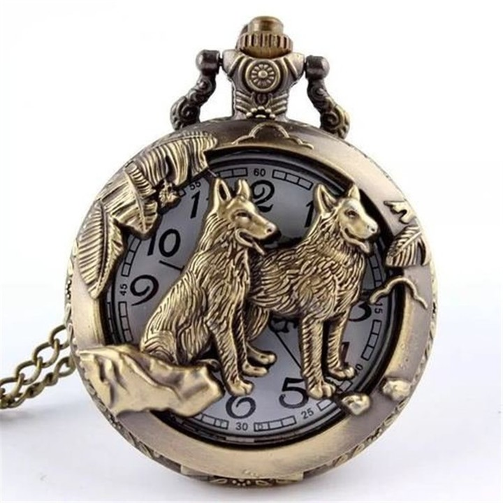 Cool refined personality and stylish silver wolf pocket watch Bronze