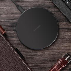 iPhone8/X Mobile Wireless Charger Desktop Round Metal 10W Wireless Fast Charger Black one size