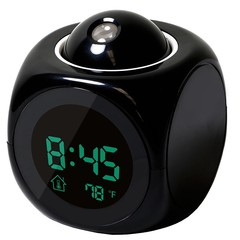Multi-function Projection Clock Alarm Clock Voice Broadcast Clock Digital Time Temperature Display Black