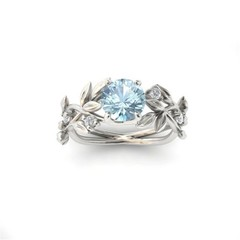 Fashion zircon leaves princess engagement ring Flower Blue Crystal Rings Silver #6