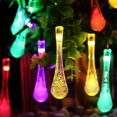 30 LEDs Raindrop Teardrop Solar Powered String Fairy Lights Outdoor Garden Party multicolor