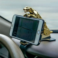 Clip Adjustable Leopard Pattern Golden Plated Car Phone Holder Stand