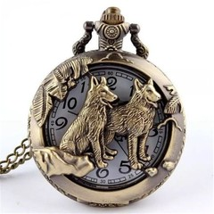 Cool refined personality and stylish silver wolf pocket watch