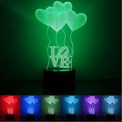 3D Night Light Changeable Lamp 7 LED Light Colors USB charging and Smart Touch Button Control gift love 25*17*5.5cm
