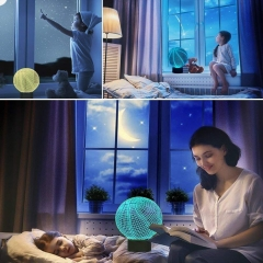 3D Night Light Changeable Lamp 7 LED Light Colors USB charging and Smart Touch Button Control ball 25*17*5.5cm