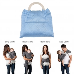 Ring Sling Baby Carrier Free Carry Bag Nursing Cover for Newborns, Infants Best Baby Shower Gift Blue one size