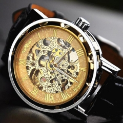 2 Types Winner Male Automatic Mechanical Watch Hollowed PU Leather Strap Band Wristwatch style 2