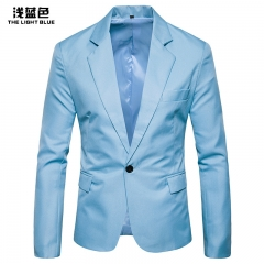 Men student pure color leisure suit tide men's clothes for Business Office Groom groomsman dress Light Blue L