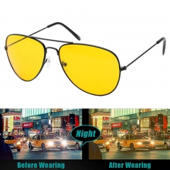 Unisex Night Vision Polarized Glasses Driver's Yellow Driving Sunglasses Goggles black One size