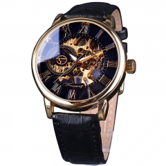 Forsining Royal Men Mechanical Watch high grade strap Top Brand Luxury Skeleton Watch gold and black