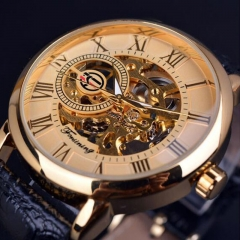 Forsining Royal Men Mechanical Watch high grade strap Top Brand Luxury Skeleton Watch gold and black belt