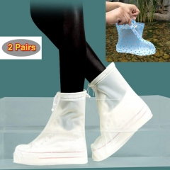 2 pairs of different colors Unisex Waterproof Shoe Covers Bike car Reusable Rain Overshoes business white and blue pairs s