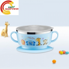 Baby anti dropping sucker bowl 304 stainless steel double ear Children thermal insulation rice bowl blue D11*6.5cm